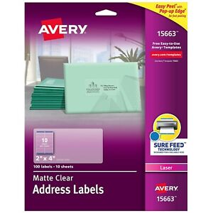 Avery Matte Clear Shipping Labels Sure Feed Technology Laser 2 X 4 792112