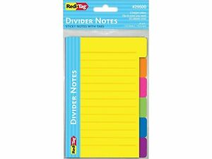 Redi tag Divider Notes With Tabs Assorted Colors 4 Wide 354066