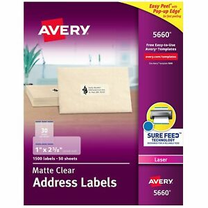 Avery Matte Clear Address Labels Sure Feed Technology Laser 1 X 2 5 8 260281