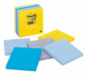 Post it Super Sticky Notes 4 X 4 New York Color Collection Lined 2715747