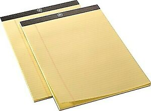 Staples M By 8 1 2 X 11 3 4 Yellow Perforated Notepads Narrow Ruled 24383538