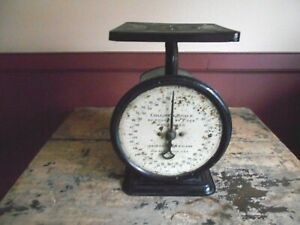 Antique Vintage Black Weight Scales Columbia Scale Landers Frary