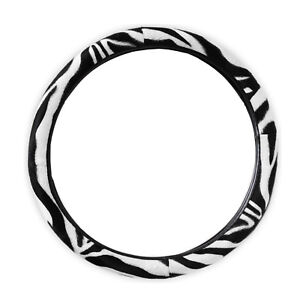 White And Black Zebra Stripes Car Steering Wheel Cover Car Suv Sedan