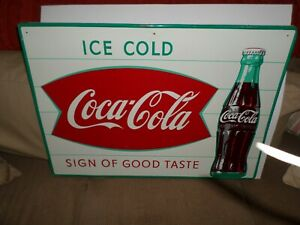 1959-60's COCA COLA SIGN OF GOOD TASTE FISH TAIL SIGN