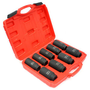 9pc Metric 1 2 Dr Deep Impact Spindle Axle Nut Socket Set 90mm Length 6 Point