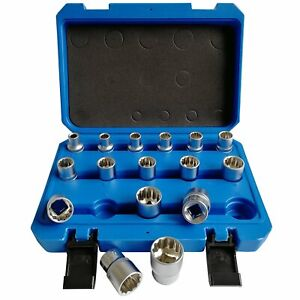 16pc 1 2 Drive Square 12 Point Deep Impact Multi Tooth 12 Edge Nut Socket Sets