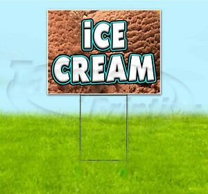 Ice Cream 18x24 Yard Sign With Stake Corrugated Bandit Usa Business Treat