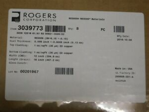 8 Rogers Item 3039773 Ro3006 12x18 Ceramic filled Ptfe Copper Clad Boards