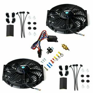 2x 12 electric Cooling Fan 12 Volt Push in Radiator Fin Probe thermostat Kit