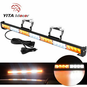 31 28 Led Waterproof Led Emergency Strobe Light Bar Traffic Advisor Amber White