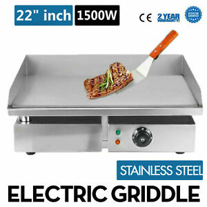 22 1500w Electric Countertop Griddle Flat Top Commercial Restaurant Grill Us
