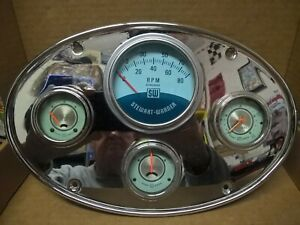 Stewart Warner Twin Blue Gauge Panel