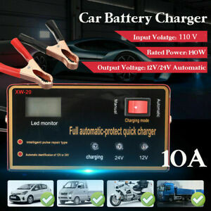 Car Motorcycle Lead Acid Battery Charger Full Automatically 12v 24v 140w 10a Us