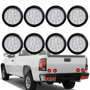 8pcs Clear Lens Round 4 Red 12 led Tail Lamp Turn Lamps Brake Lights Trailer Rv