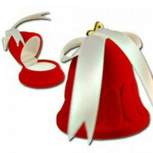 Jewelry Gift Box 3 Pcs Velvet Flocked Bell Red Ornament Holiday Christmas Nwt