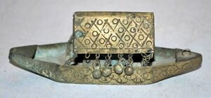 Old Antique India Brass Hand Crafted Decorative Boat Ship Model With Bell Rare