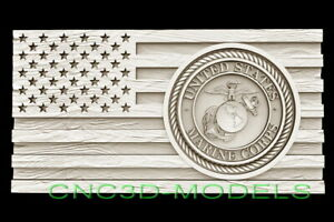 3d Stl Model For Cnc Router Artcam Flag Usa America Marine Corps Eagle D665
