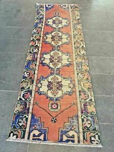 Turkish Runner Rug Vintage Red Blue Hand Woven Wool Distressed Narrow Aisle Rug