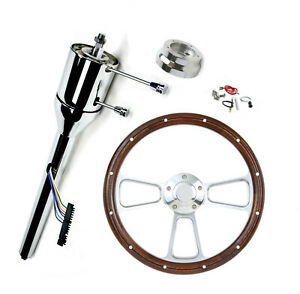 Chrome 28 Gm Steering Column Tilt Manual Trans Universal Wood Steering Wheel