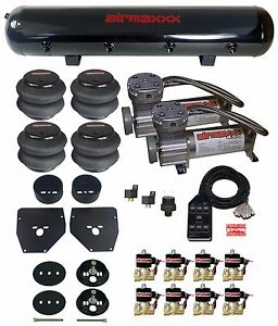 Air Ride Suspension Kit 3 8 Valves Blk 7 Switch Bags Tank For 1963 72 Chevy C10