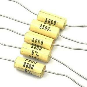 6 8nf 6800pf 250v 5 Axial Capacitor Arcotronics Qty 5