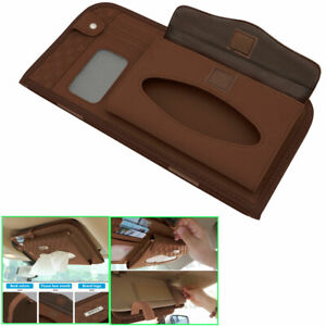 Car Pu Interior Paper Towel Tissue Box Covers Holders Sun Visors Brown For Ford