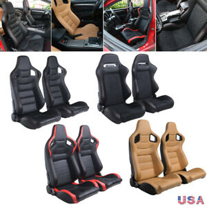 2pcs Car Racing Seats Reclinable Bucket Full Wrap Pu Leather Seat Tan W 2 Slider