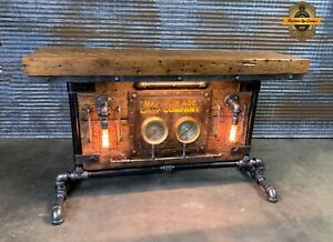 Steampunk Industrial Machine Age Lamp Steam Gauge Table Stand Console Barnwood