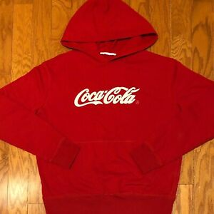 Mint Condition Vintage Coca-Cola Sewn Spellout Hoodie sz L Americana Classic