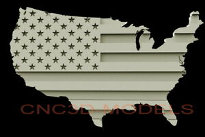 3d Stl Model For Cnc Router Carving Artcam Aspire Flag Usa America Map D205