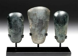 Beautiful Pre Columbian Jade Celts With A Custom Stand 2 Olmec And 1 Mayan