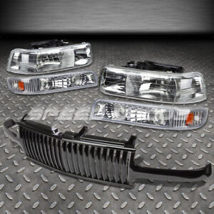 For Silverado Tahoe Black Grill Cover Chrome Amber Housing Headlights Lamps Lens
