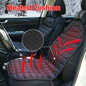 Black Car Seat Heated Cover 12v Front Seat Heater Auto Winter Warmer Cushion Pad