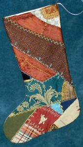 Awesome Antique Vintage Crazy Quilt Christmas Stocking Cutter Quilt Cq40