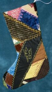 Awesome Antique Vintage Crazy Quilt Christmas Stocking Cutter Quilt Cq46