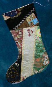 Awesome Antique Vintage Crazy Cutter Quilt Christmas Stocking Blanche Cq50