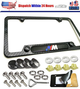 Carbon Fiber M License Plate Frame Cover Usa Standard For All Bmw With Screw Kit