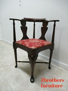 Vintage Statton Furniture Mahogany Chippendale Corner Living Room Chair A