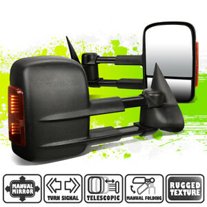 Black Manual Side Towing Mirrors Led Turn Signal For Silverado Sierra 99 07