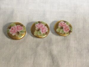 Antique Set 3 Hand Painted Porcelain Stud Buttons Pink Roses With Gold