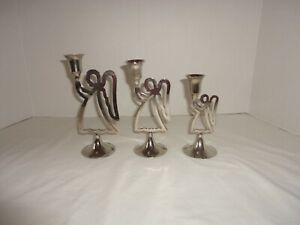 Silver Plated Angel Taper Candle Holders Set Of 3 International Silver Co Vtg