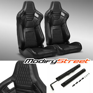 2 X Main Black Pvc Leather Stitching L r Racing Bucket Seats Slider