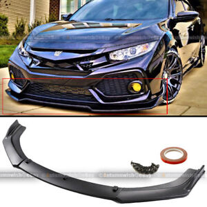 For 16 20 Honda Civic 10th Jdm Style 3 Pcs Front Bumper Lip Kit Spoiler Splitter
