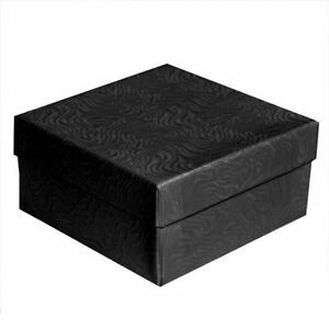 100 Swirl Black Cotton Filled Jewelry Packaging Gift Boxes Bracelets Pendants