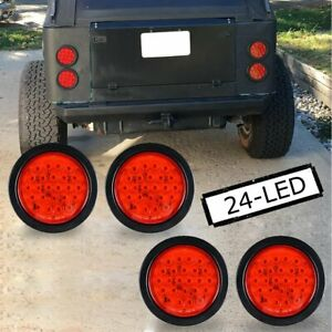 4x Red Trailer Truck Tail Light 24 Led 4 Round Stop Brake Lamp W Grommet Plug