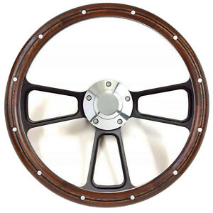 1965 1969 Ford Mustang Real Mahogany Steering Wheel Boss Kit For Gm Column
