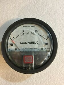 Dwyer Inst Magnehelic Water Pressure Gauge Inches Of Water 0 To 15 Used