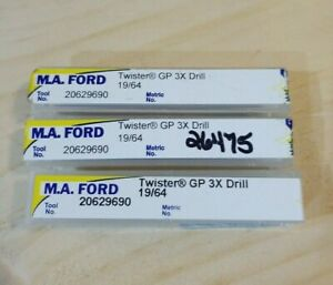M a Ford 19 64 Carbide Drills 3 Pieces