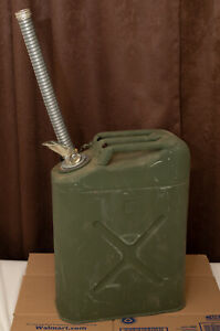 Usmc Metal Jerry Can Gas 5 Gallon With Flexible Spout Willys Jeep