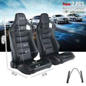 2pc Racing Seats Brown Beige Sport Full Wraped Pu Leather Reclinable W 2 Slides